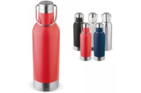 The vacuum insulated bottle adventure has a tough looking finish and is ideal for every adventure. This double walled thermo stainless steel flask keeps hot drink warm up to 12 hours and drinks cold up to 24 hours.