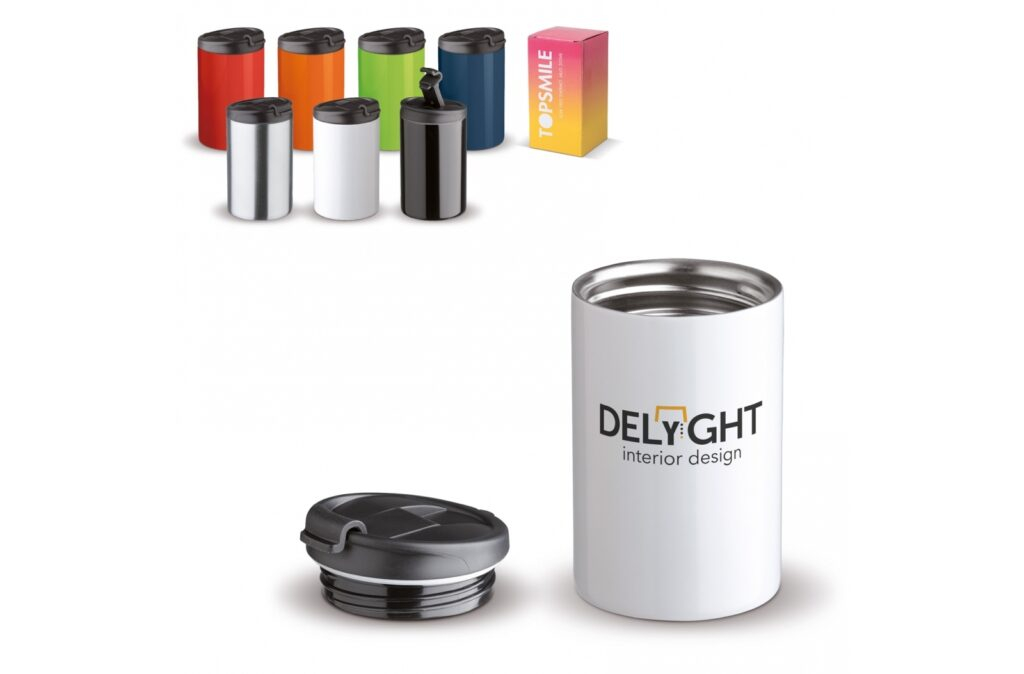 Toppoint design 100% leak-proof vacuum mug. Very useful, because you can safely carry this mug with drink in, for example, a bag.