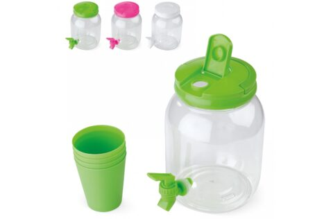 Drinks dispenser with tap that makes it easy to tap drinks. The dispenser is ideal for non-carbonated drinks such as lemonade, wine or water with fruit and ice. Comes with four cups (15cl).