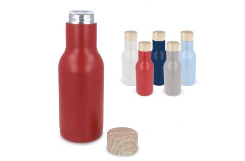 Drinking bottle made of double-walled stainless steel. Stylish design and several modern colours available. This vacuum insulated bottle keeps drinks up to 12 hours warm or up to 24 hours cold. It comes with a build in tea strainer so you can add tea leaves in the bottle as well, but it can also be used to put mint or lemon inside. Including an anti-slip bottom.