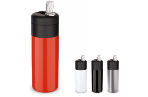 Double wall vacuum insulated bottle from the 'Flow' series. The mug with drinking spout and straw is 100% BPA free and leak-free and easy to take with you. The inner and outer wall are made of stainless steel and are of high quality. This keeps the drink at the desired temperature for longer.