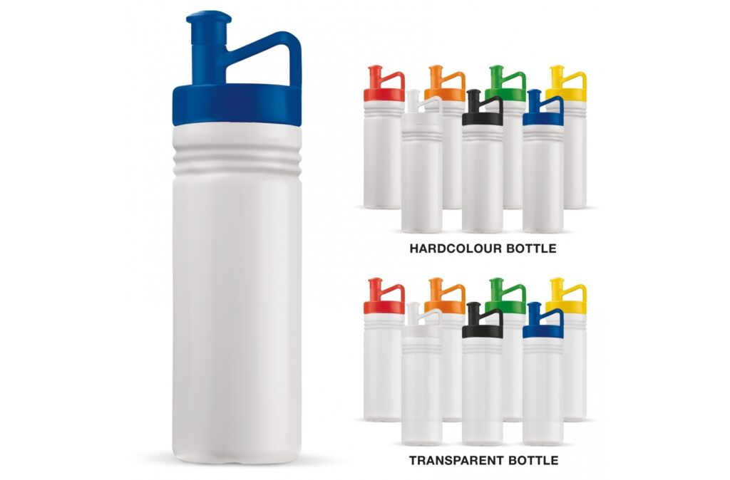 Toppoint design water bottle with ergonomic cap. Optimum drinking pleasure thanks to handy dimensions, asymmetrical mouthpiece and an integrated grip. The drinking bottle is produced in Europe, made of high-quality materials and is completely taste and smell neutral, leak-free and 100% recyclable.
