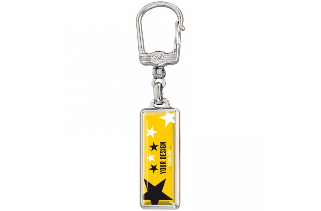 Metal rectangle keyring with double sided doming.