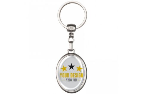 Metal oval keyring with double sided doming possible.