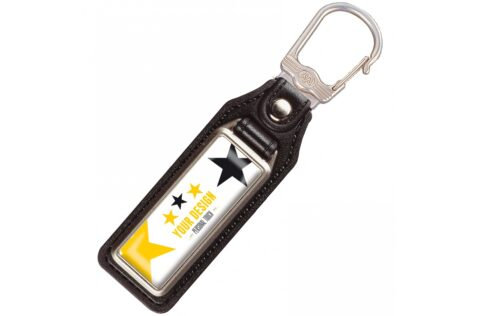 A metal, rectangular keyring with a single sided doming on leather tag.