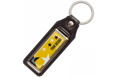 A metal rectangular keyring with a single sided doming on leather tag.