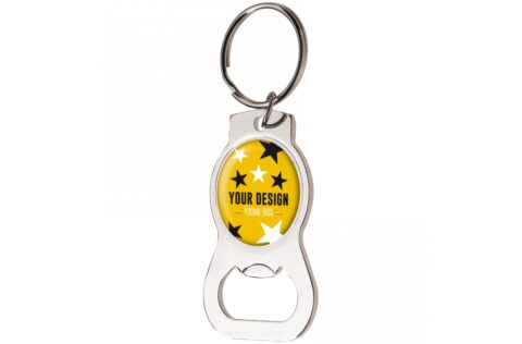 Metal keyring with round doming and bottle opener.