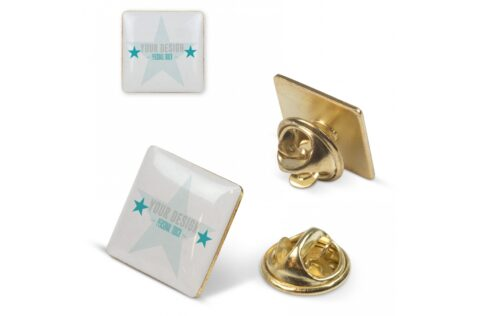 A square pin with doming. Butterfly closure.