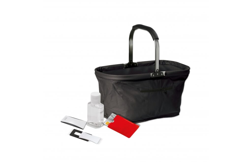 Protection set. Consisting of 3 protection-based items, and 1 handy picnic basket to pack them in. Including a 1-colour print on all items (excluding the picnic basket). For ordering, please contact your sales representative. Set contents: 250 pieces of the 95033, 250 pieces of the 91242, 250 pieces of the 91295, 1 piece of the 91474.
