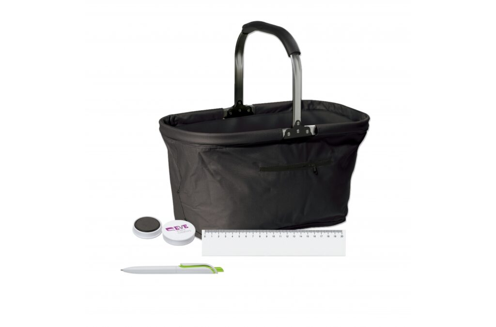 Office set. Consisting of 3 office-based items, and 1 handy picnic basket to pack them in. Including a full color digital print on all items (excluding the picnic basket). For ordering, please contact your sales representative. Set contents: 250 pieces of the 91250, 250 pieces of the 90462, 250 pieces of the 87764, 1 piece of the 91474.