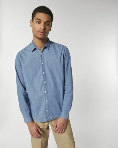 Shirts Mannen Light Indigo Denim