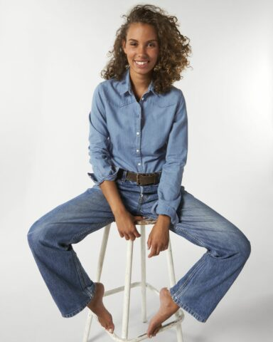 Shirts Vrouwen Light Indigo Denim